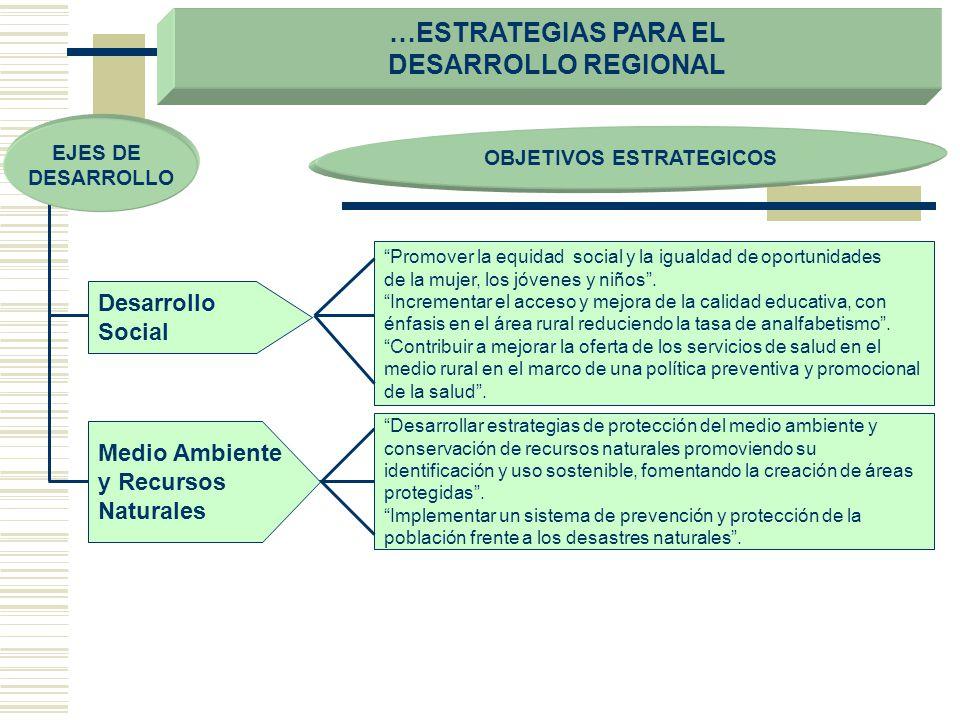 …ESTRATEGIAS PARA EL DESARROLLO REGIONAL OBJETIVOS ESTRATEGICOS Desarrollo Social Promover la equidad social y la igualdad de oportunidades de la muje