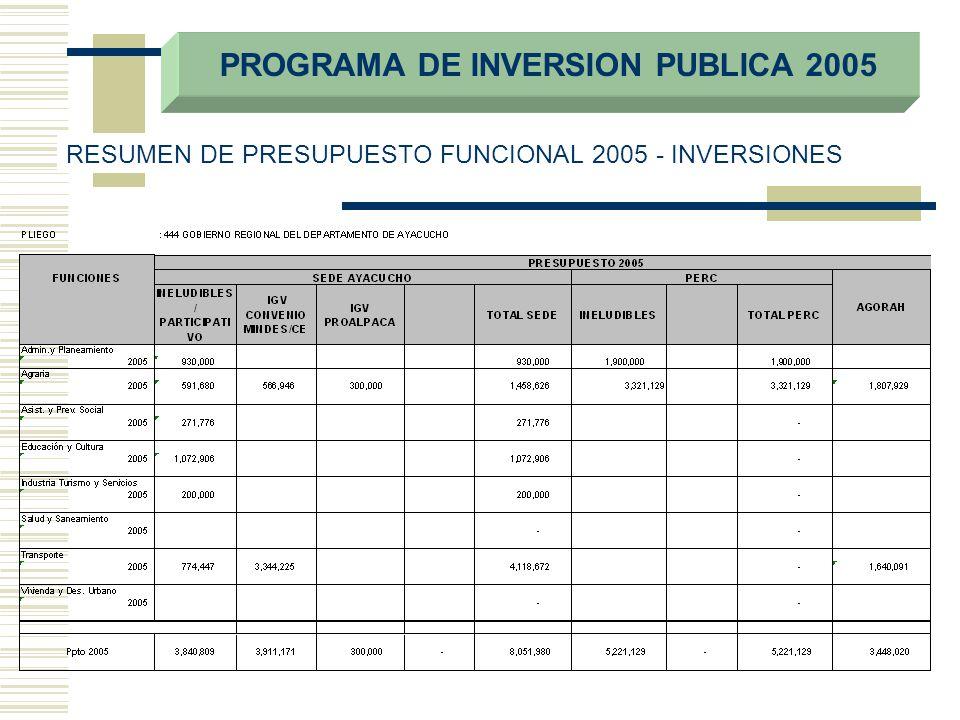 PROGRAMA DE INVERSION PUBLICA 2005 RESUMEN DE PRESUPUESTO FUNCIONAL 2005 - INVERSIONES