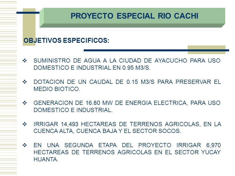 SUMINISTRO DE AGUA A LA CIUDAD DE AYACUCHO PARA USO DOMESTICO E INDUSTRIAL EN 0.95 M3/S. DOTACION DE UN CAUDAL DE 0.15 M3/S PARA PRESERVAR EL MEDIO BI