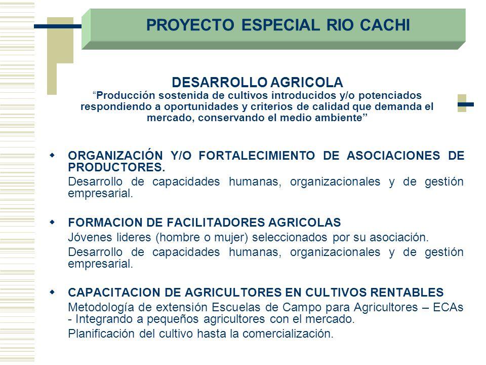 DESARROLLO AGRICOLAProducción sostenida de cultivos introducidos y/o potenciados respondiendo a oportunidades y criterios de calidad que demanda el me