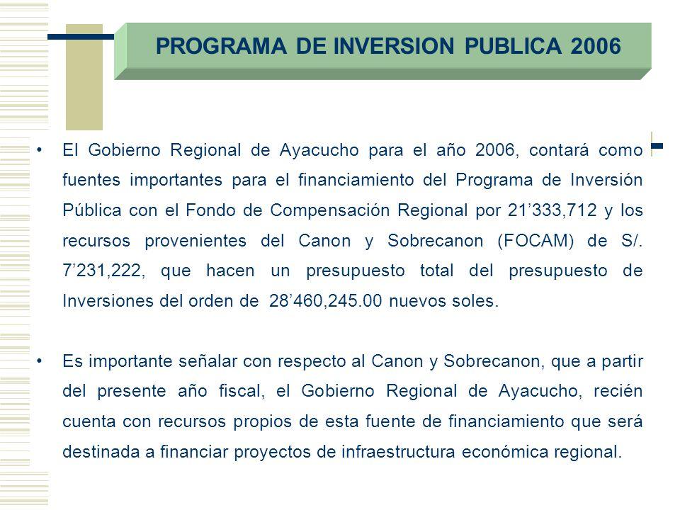 El Gobierno Regional de Ayacucho para el año 2006, contará como fuentes importantes para el financiamiento del Programa de Inversión Pública con el Fo