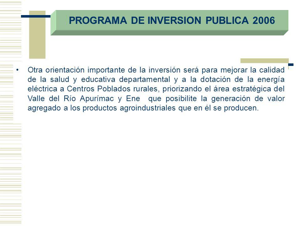 PROGRAMA DE INVERSION PUBLICA 2006 Otra orientación importante de la inversión será para mejorar la calidad de la salud y educativa departamental y a