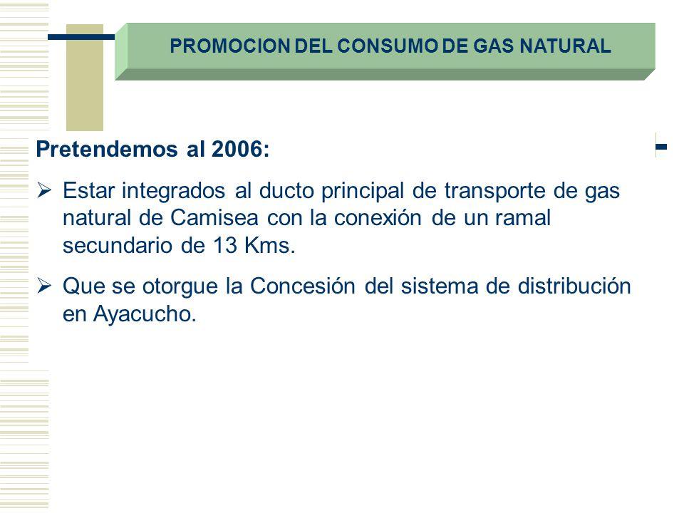 PROMOCION DEL CONSUMO DE GAS NATURAL Pretendemos al 2006: Estar integrados al ducto principal de transporte de gas natural de Camisea con la conexión