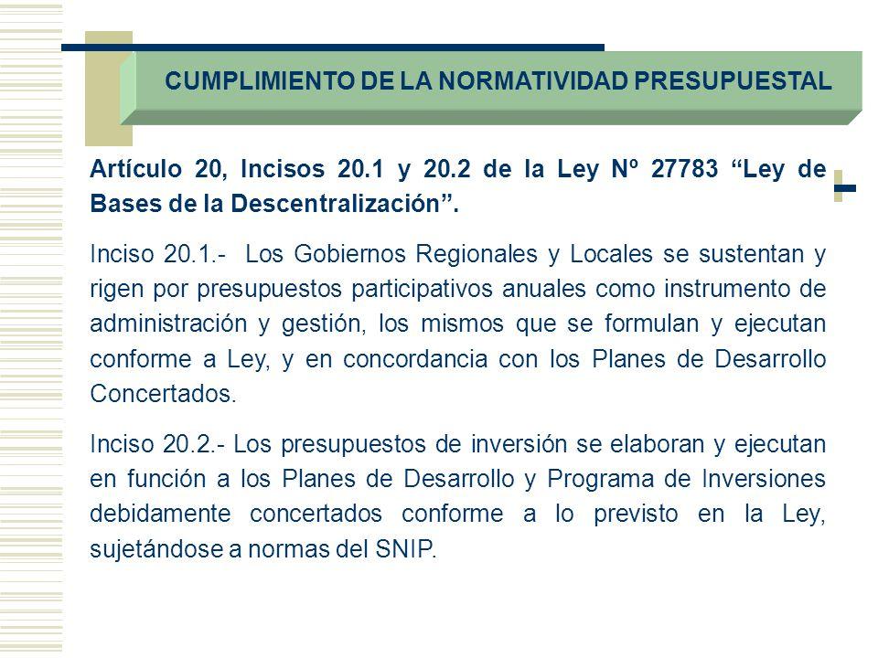 CUMPLIMIENTO DE LA NORMATIVIDAD PRESUPUESTAL Artículo 20, Incisos 20.1 y 20.2 de la Ley Nº 27783 Ley de Bases de la Descentralización. Inciso 20.1.- L