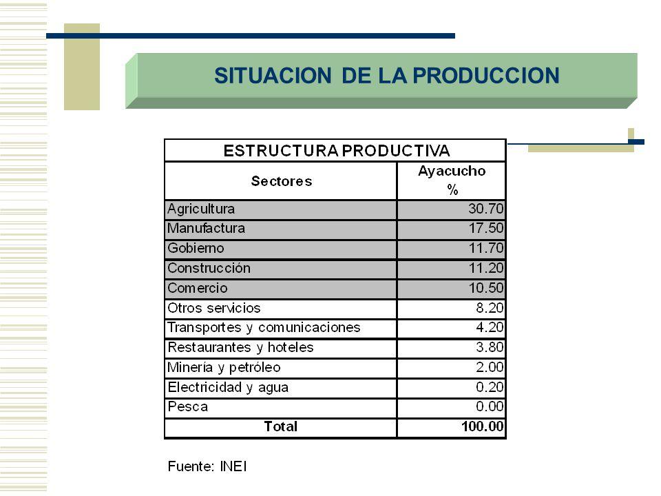 INFRAESTRUCTURA ECONOMICA, EXPLOTACION Y RECURSOS AGRICOLAS DESCRIPCIONPAISAYACUCHO% Red vial (Km.)78,0344,2695.0 Línea telefónicas1,555,7499,1900.5 Cultivos en limpio4502,000140,0003.1 Cultivos permanentes2707,0003,0000.1 Tierra para pastos17916,0001130,0006.3 Tierras forestales48696,000155,0000.3 Tierras de protección54301,0002990,0005.5 FUENTE: INRENA, INEI, Dirección Regional de Transportes y Comunicaciones