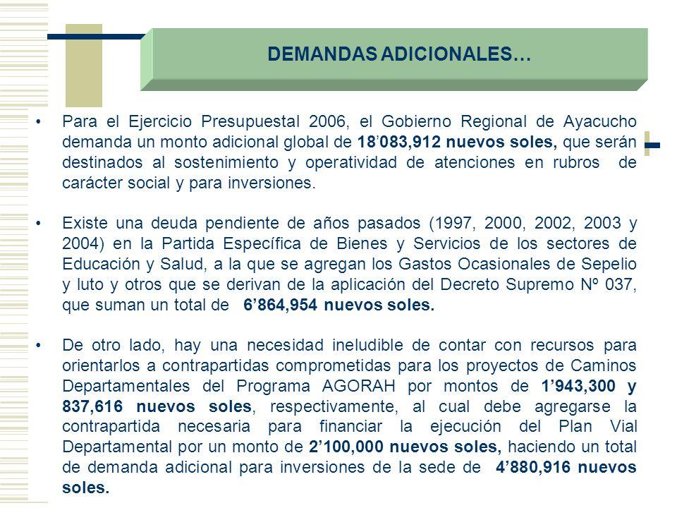 DEMANDAS ADICIONALES… Para el Ejercicio Presupuestal 2006, el Gobierno Regional de Ayacucho demanda un monto adicional global de 18083,912 nuevos sole