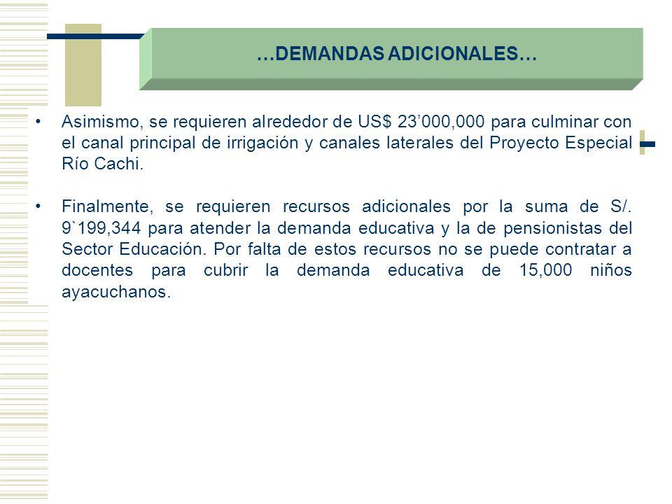 …DEMANDAS ADICIONALES… Asimismo, se requieren alrededor de US$ 23000,000 para culminar con el canal principal de irrigación y canales laterales del Pr