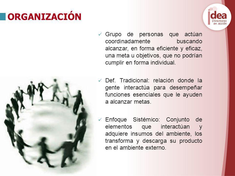 Grupo de personas que actúan coordinadamente buscando alcanzar, en forma eficiente y eficaz, una meta u objetivos, que no podrían cumplir en forma ind