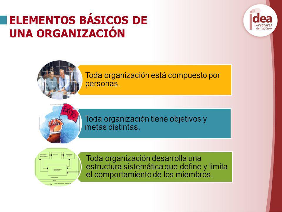 ELEMENTOS BÁSICOS DE UNA ORGANIZACIÓN Toda organización está compuesto por personas. Toda organización tiene objetivos y metas distintas. Toda organiz