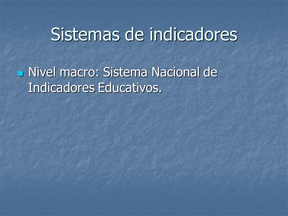 Sistemas de indicadores Nivel macro: Sistema Nacional de Indicadores Educativos. Nivel macro: Sistema Nacional de Indicadores Educativos.