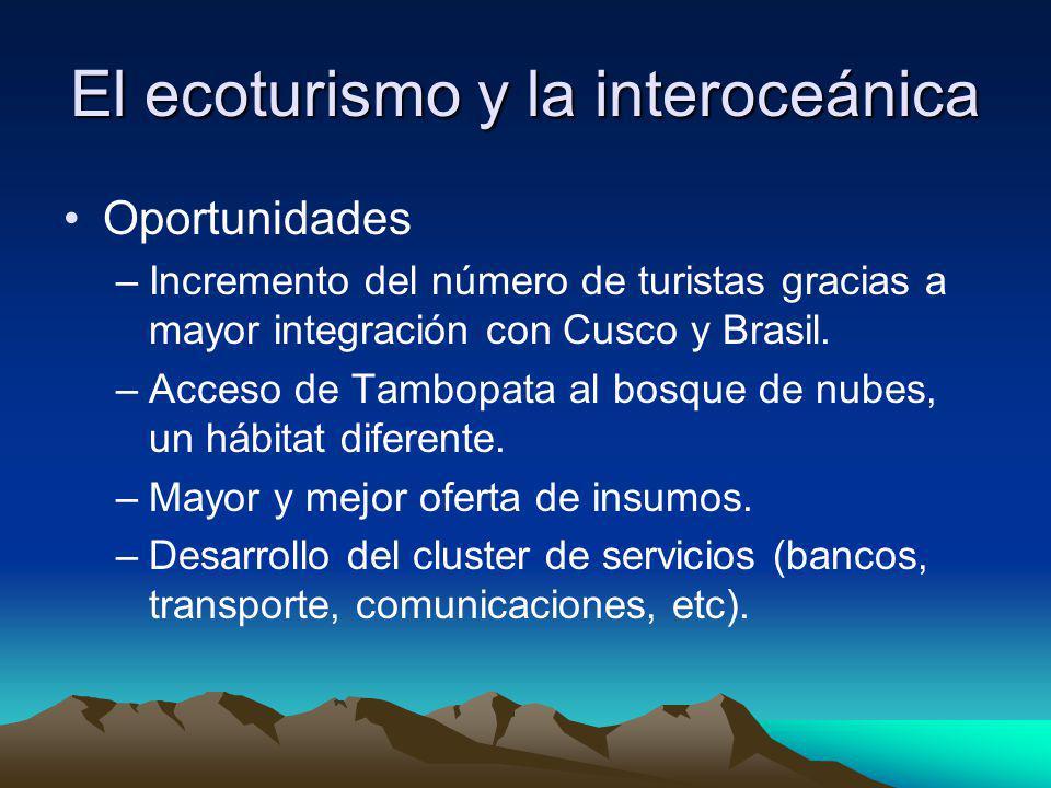 Oportunidades –Incremento del número de turistas gracias a mayor integración con Cusco y Brasil. –Acceso de Tambopata al bosque de nubes, un hábitat d