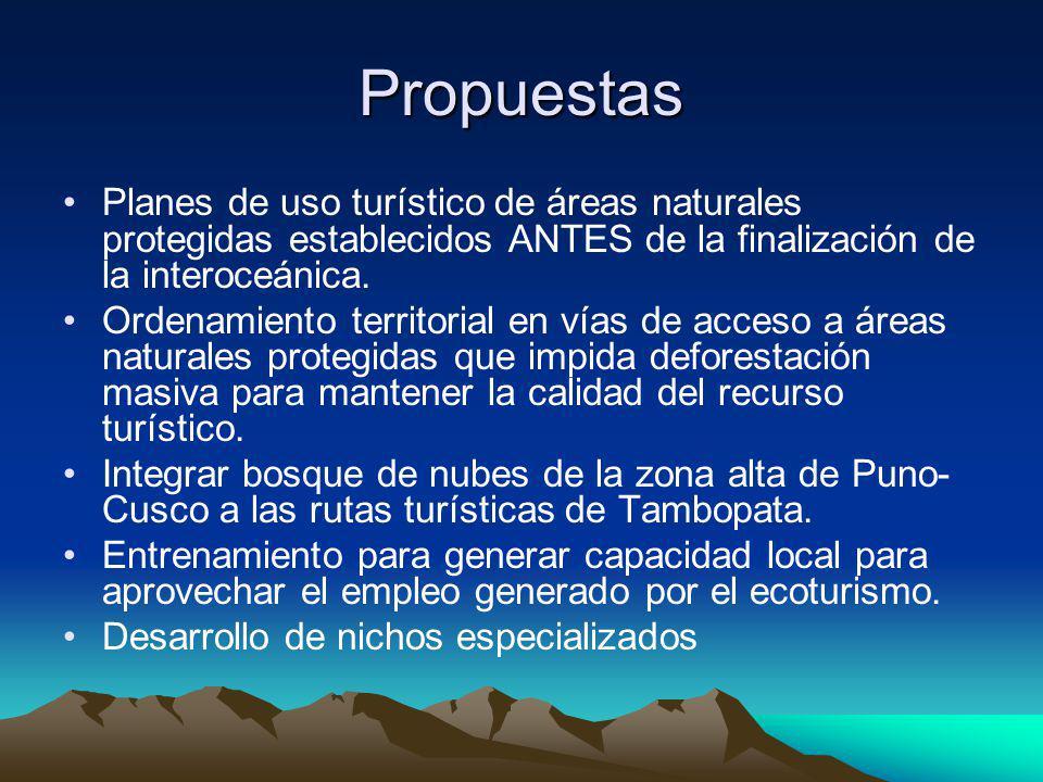 Propuestas Planes de uso turístico de áreas naturales protegidas establecidos ANTES de la finalización de la interoceánica. Ordenamiento territorial e