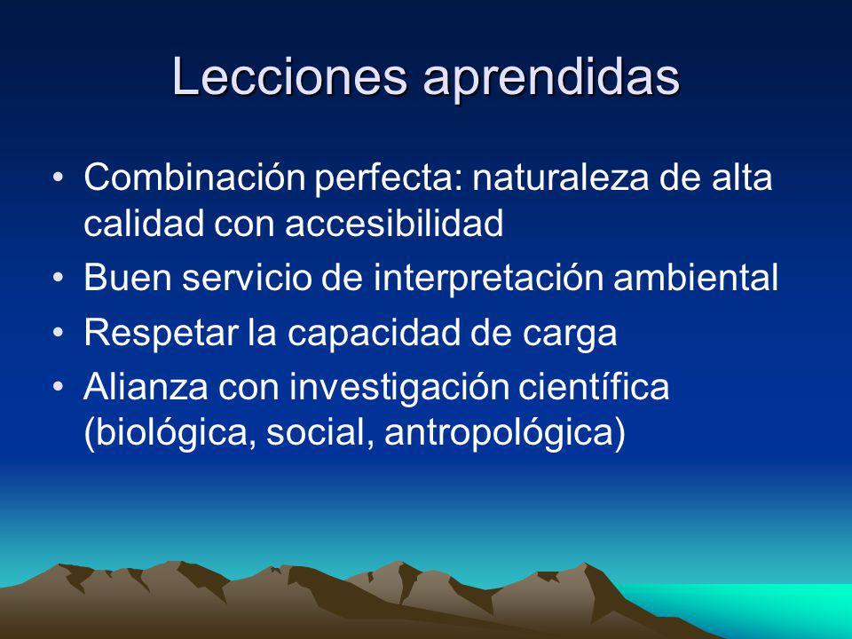 Lecciones aprendidas Combinación perfecta: naturaleza de alta calidad con accesibilidad Buen servicio de interpretación ambiental Respetar la capacida