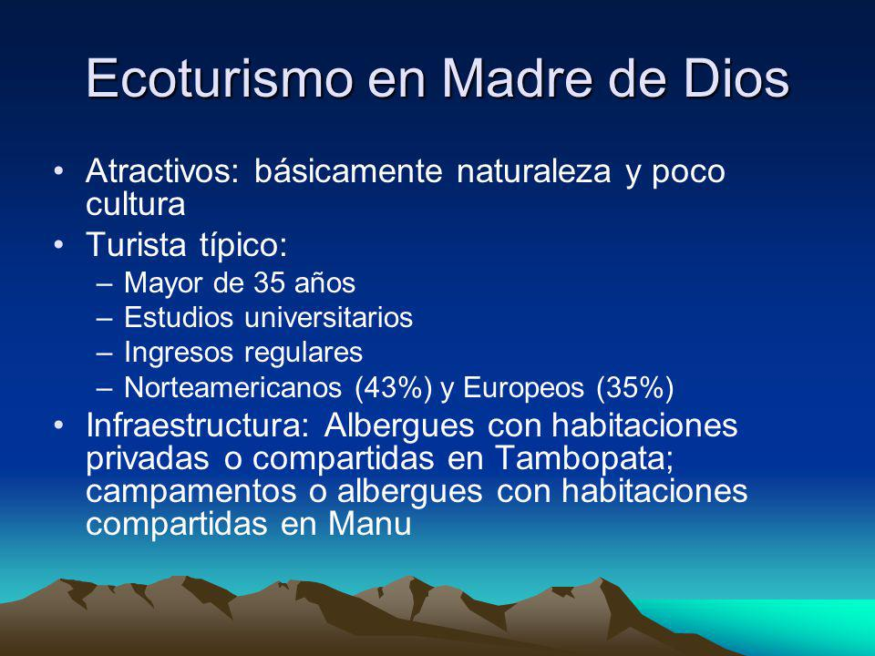 Ecoturismo en Madre de Dios Atractivos: básicamente naturaleza y poco cultura Turista típico: –Mayor de 35 años –Estudios universitarios –Ingresos reg