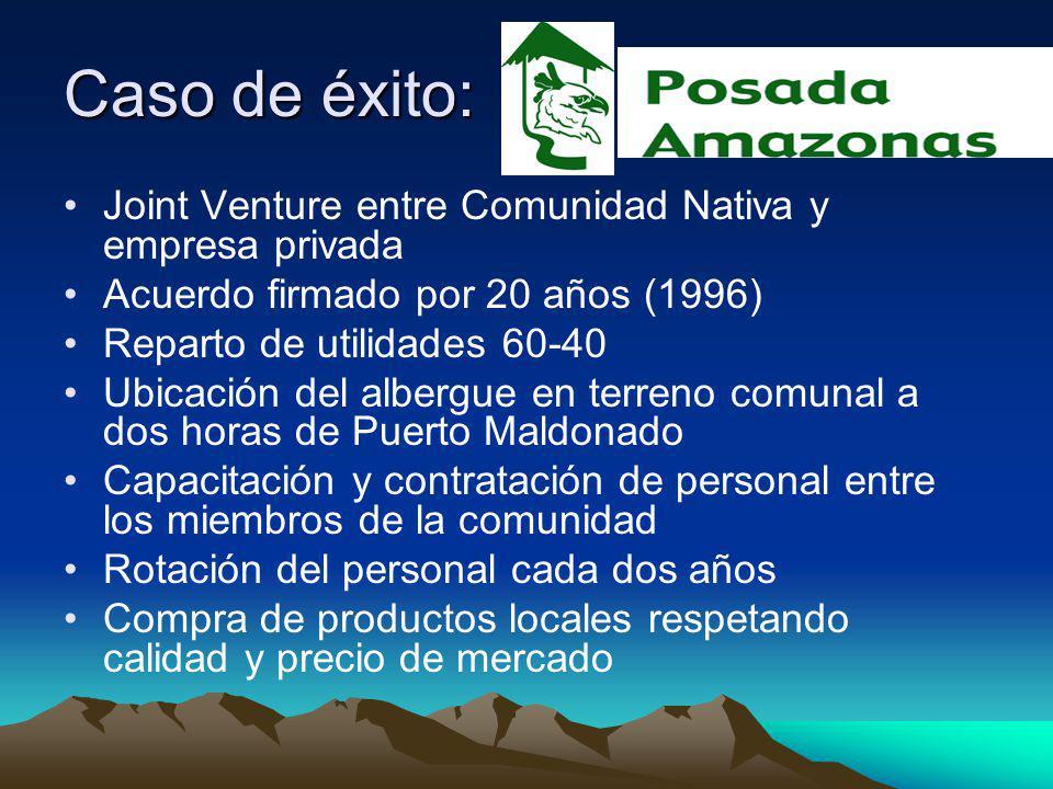 Caso de éxito: Joint Venture entre Comunidad Nativa y empresa privada Acuerdo firmado por 20 años (1996) Reparto de utilidades 60-40 Ubicación del alb