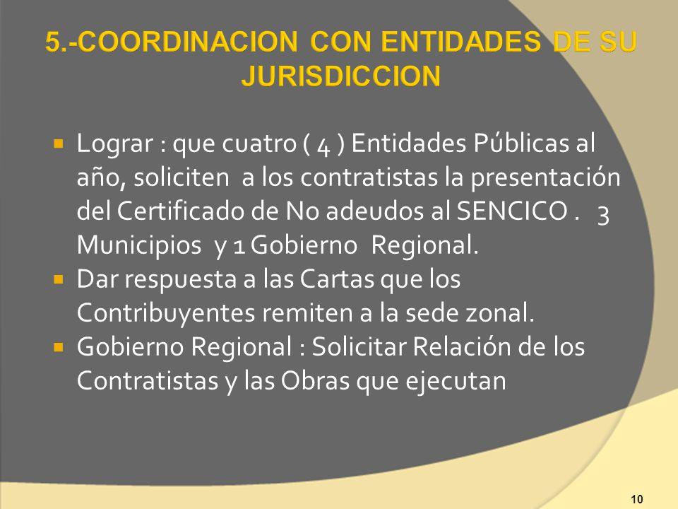 10 Lograr : que cuatro ( 4 ) Entidades Públicas al año, soliciten a los contratistas la presentación del Certificado de No adeudos al SENCICO.