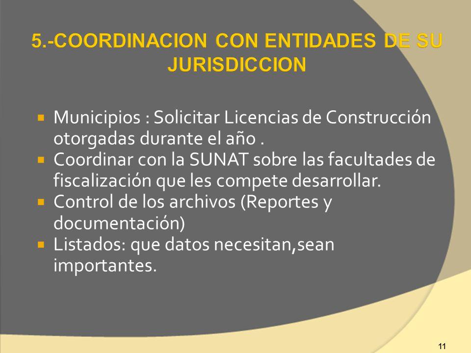 11 Municipios : Solicitar Licencias de Construcción otorgadas durante el año.