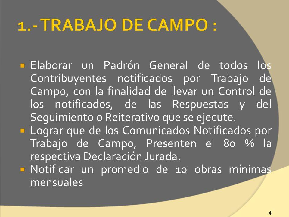 4 Elaborar un Padrón General de todos los Contribuyentes notificados por Trabajo de Campo, con la finalidad de llevar un Control de los notificados, de las Respuestas y del Seguimiento o Reiterativo que se ejecute.
