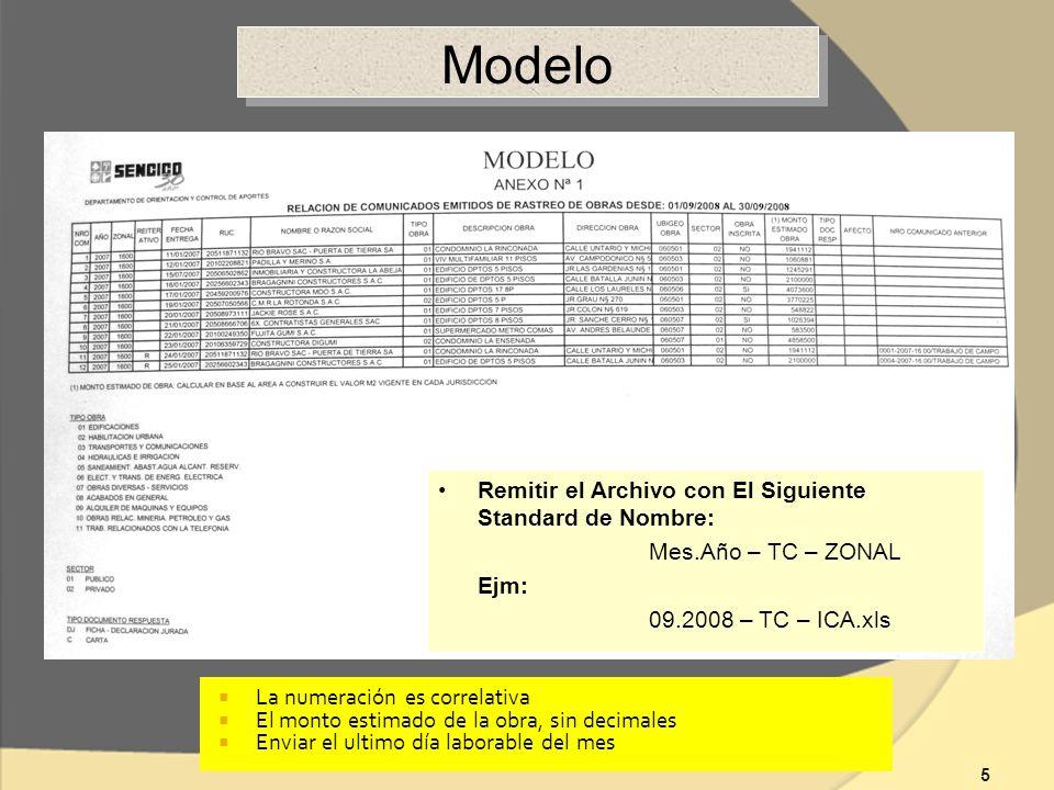 5 Modelo Remitir el Archivo con El Siguiente Standard de Nombre: Mes.Año – TC – ZONAL Ejm: 09.2008 – TC – ICA.xls La numeración es correlativa El monto estimado de la obra, sin decimales Enviar el ultimo día laborable del mes