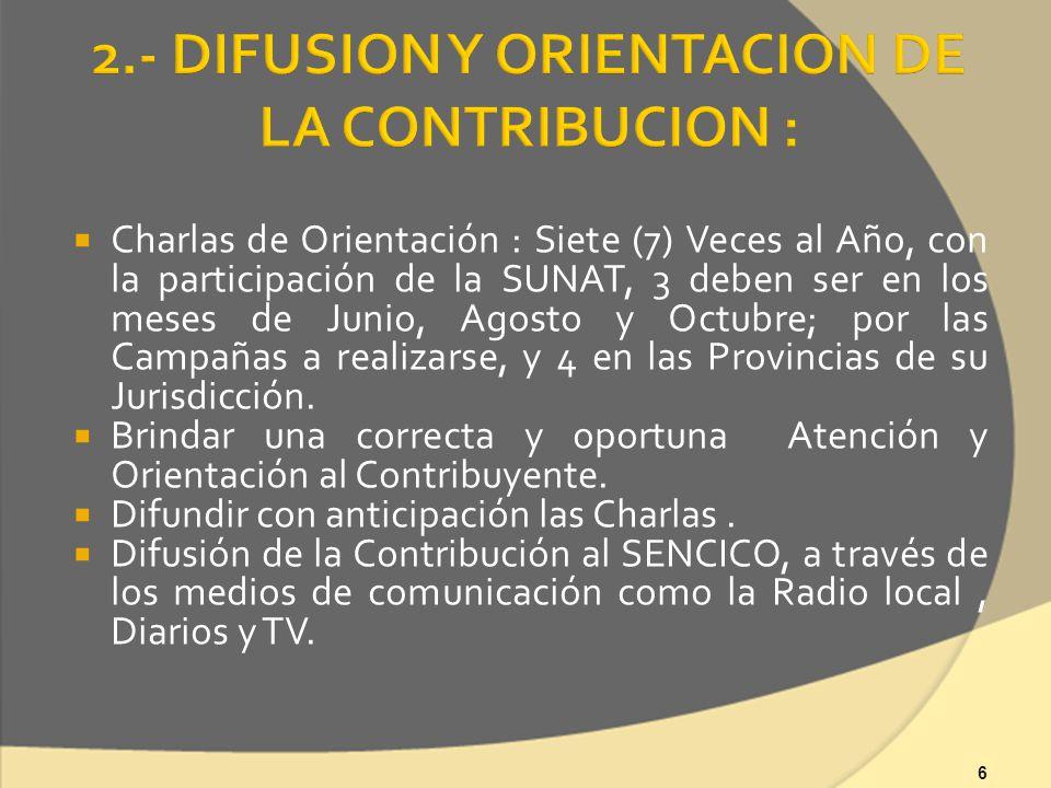 6 Charlas de Orientación : Siete (7) Veces al Año, con la participación de la SUNAT, 3 deben ser en los meses de Junio, Agosto y Octubre; por las Campañas a realizarse, y 4 en las Provincias de su Jurisdicción.