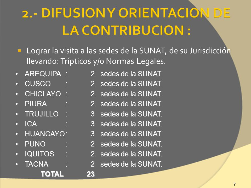 7 Lograr la visita a las sedes de la SUNAT, de su Jurisdicción llevando: Trípticos y/o Normas Legales.