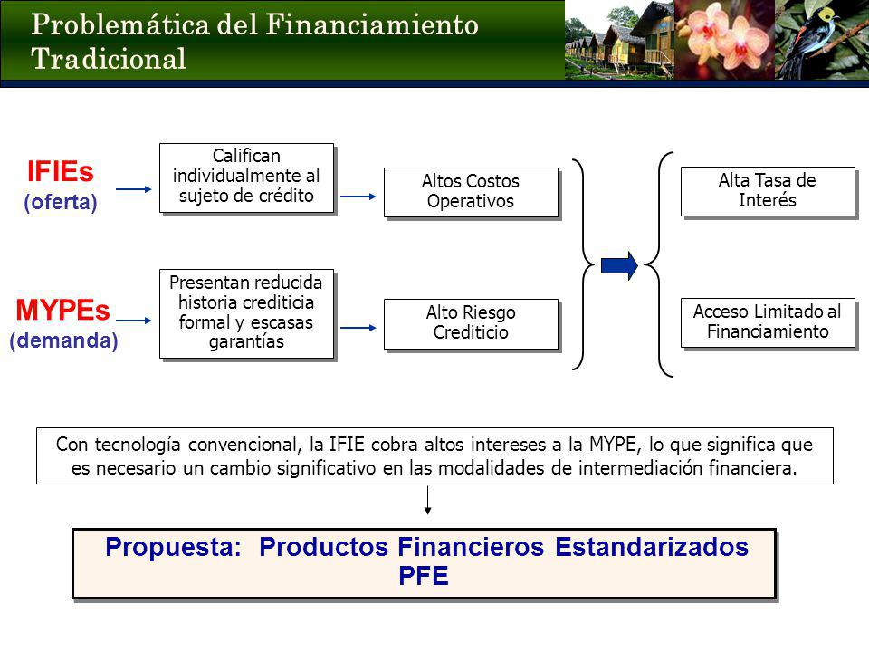 Problemática del Financiamiento Tradicional IFIEs (oferta) Altos Costos Operativos MYPEs (demanda) Alta Tasa de Interés Acceso Limitado al Financiamie