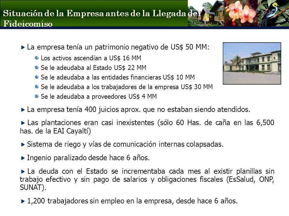Situación de la Empresa antes de la Llegada del Fideicomiso La empresa tenía un patrimonio negativo de US$ 50 MM: Los activos ascendían a US$ 16 MM Se