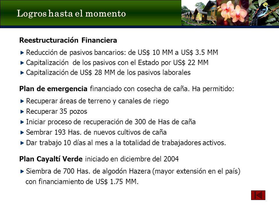Logros hasta el momento Reestructuración Financiera Reducción de pasivos bancarios: de US$ 10 MM a US$ 3.5 MM Capitalización de los pasivos con el Est
