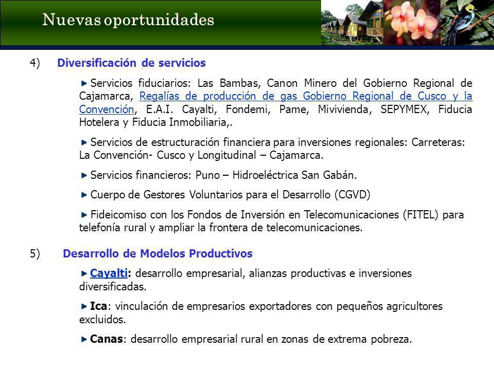4) Diversificación de servicios Servicios fiduciarios: Las Bambas, Canon Minero del Gobierno Regional de Cajamarca, Regalías de producción de gas Gobi