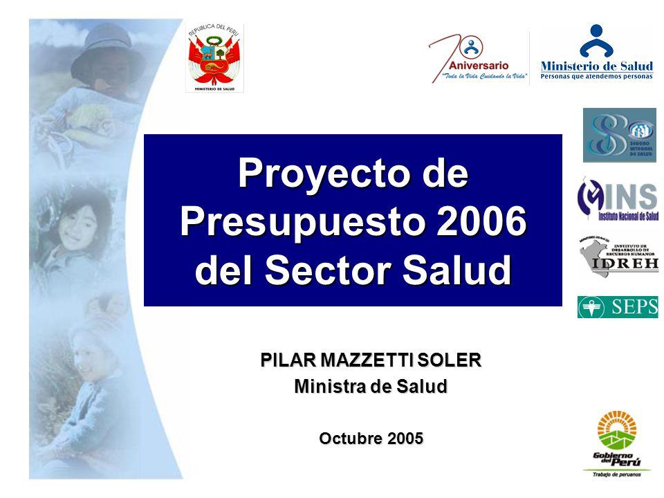 Proyecto de Presupuesto 2006 del Sector Salud PILAR MAZZETTI SOLER Ministra de Salud Octubre 2005