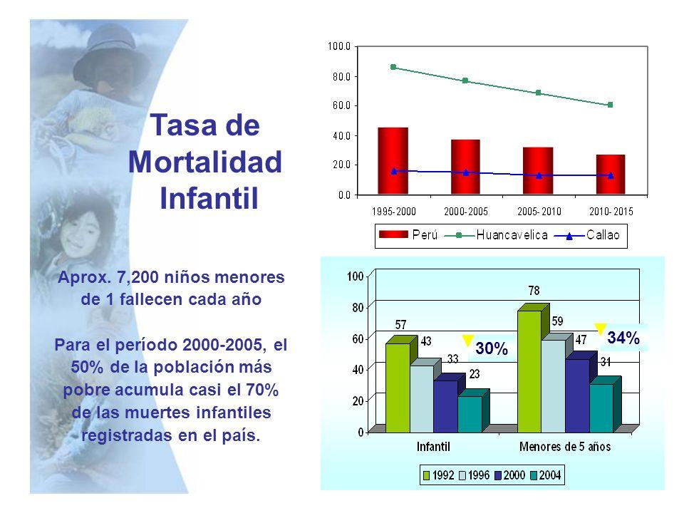 Tasa de Mortalidad Infantil 30% 34% Aprox. 7,200 niños menores de 1 fallecen cada año Para el período 2000-2005, el 50% de la población más pobre acum