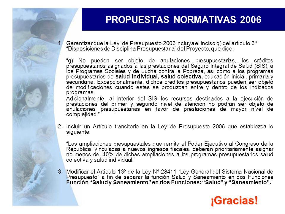 PROPUESTAS NORMATIVAS 2006 1.Garantizar que la Ley de Presupuesto 2006 incluya el inciso g) del artículo 6º Disposiciones de Disciplina Presupuestaria