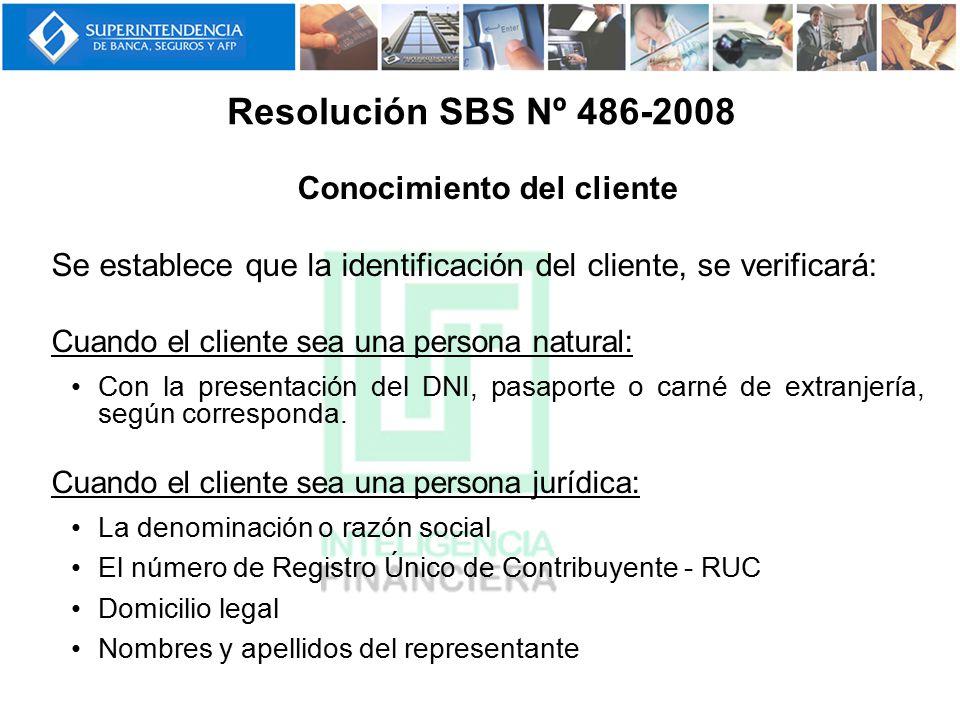 Conocimiento del cliente Se establece que la identificación del cliente, se verificará: Cuando el cliente sea una persona natural: Con la presentación