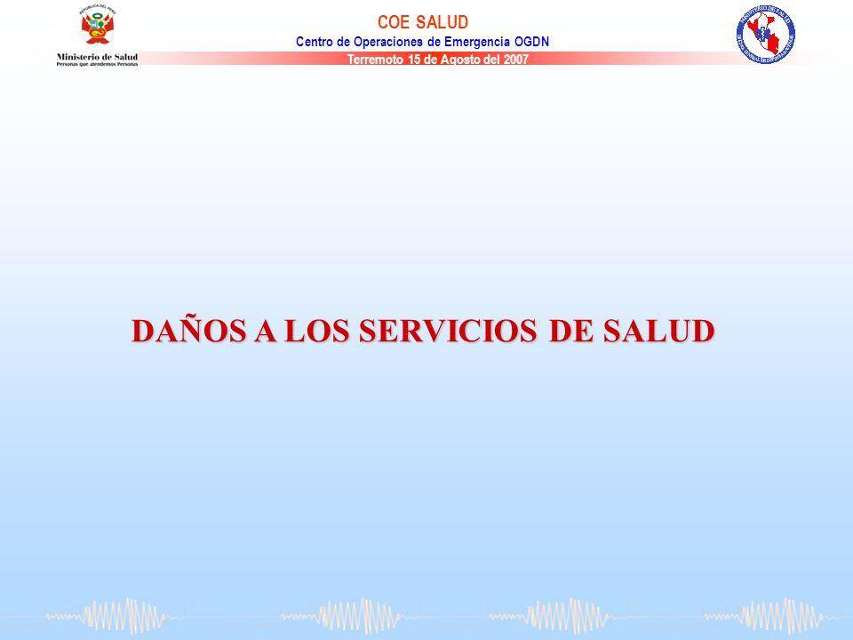 Terremoto 15 de Agosto del 2007 COE SALUD Centro de Operaciones de Emergencia OGDN DAÑOS A LOS SERVICIOS DE SALUD