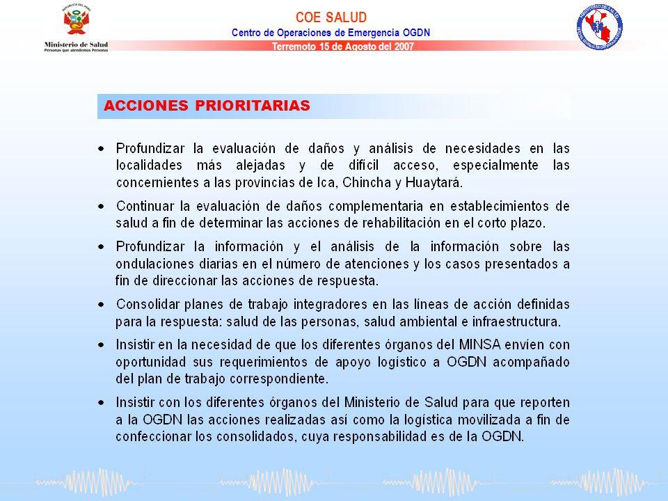 Terremoto 15 de Agosto del 2007 COE SALUD Centro de Operaciones de Emergencia OGDN ACCIONES PRIORITARIAS