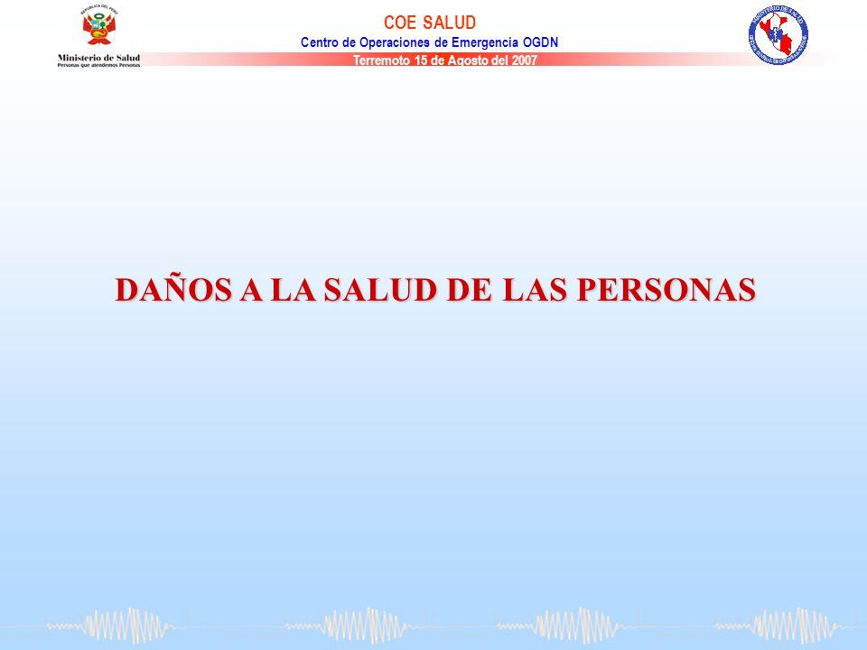 Terremoto 15 de Agosto del 2007 COE SALUD Centro de Operaciones de Emergencia OGDN DAÑOS A LA SALUD DE LAS PERSONAS
