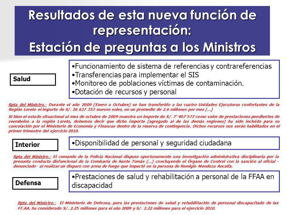 Resultados de esta nueva función de representación: Estación de preguntas a los Ministros Funcionamiento de sistema de referencias y contrareferencias Transferencias para implementar el SIS Monitoreo de poblaciones víctimas de contaminación.
