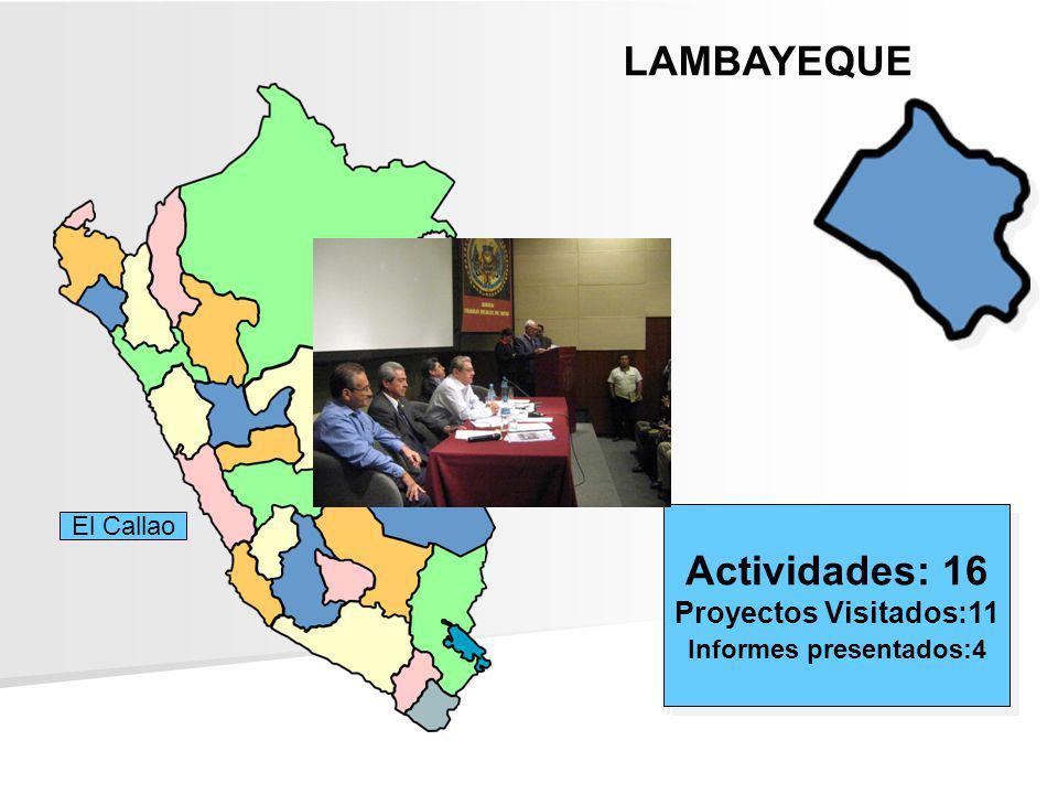 LAMBAYEQUE Actividades: 16 Proyectos Visitados:11 Informes presentados:4 Actividades: 16 Proyectos Visitados:11 Informes presentados:4 El Callao