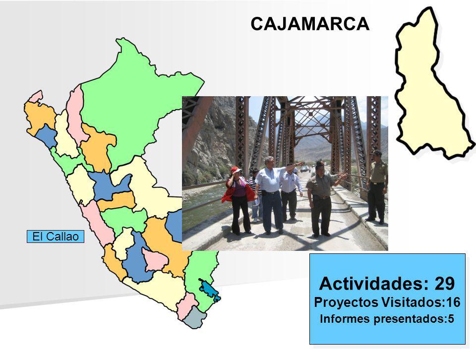CAJAMARCA Actividades: 29 Proyectos Visitados:16 Informes presentados:5 Actividades: 29 Proyectos Visitados:16 Informes presentados:5 El Callao