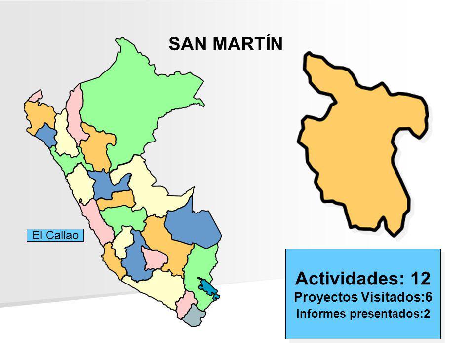 SAN MARTÍN Actividades: 12 Proyectos Visitados:6 Informes presentados:2 Actividades: 12 Proyectos Visitados:6 Informes presentados:2 El Callao