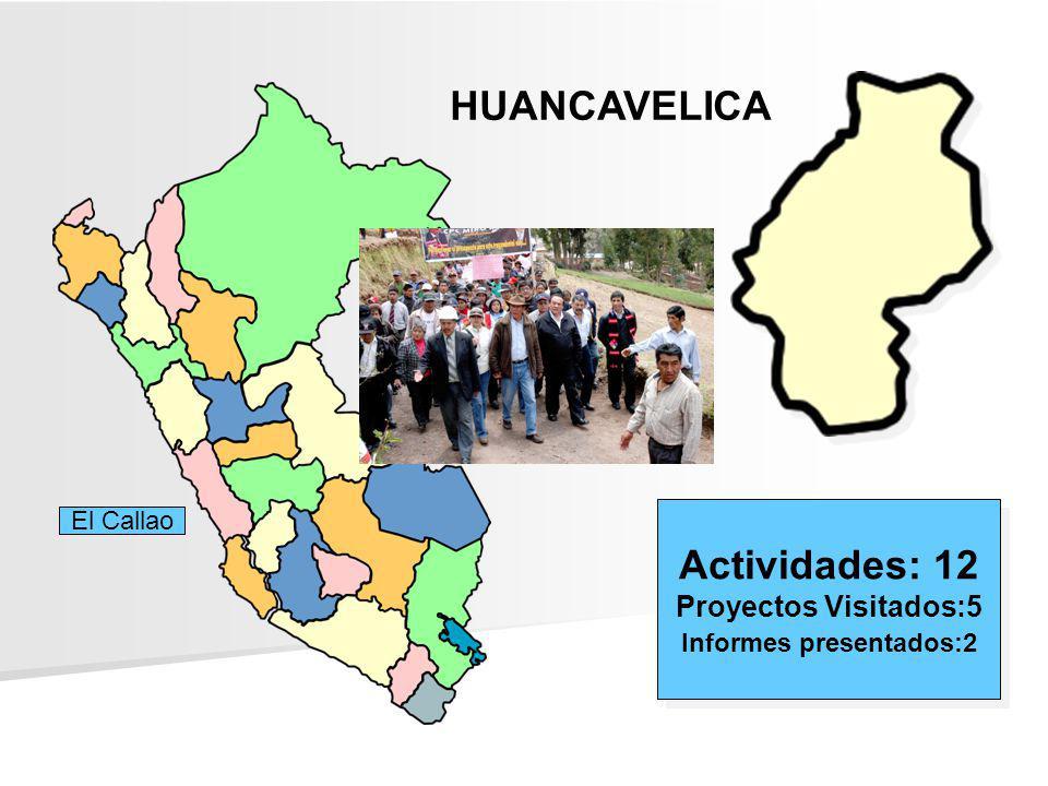 HUANCAVELICA Actividades: 12 Proyectos Visitados:5 Informes presentados:2 Actividades: 12 Proyectos Visitados:5 Informes presentados:2 El Callao