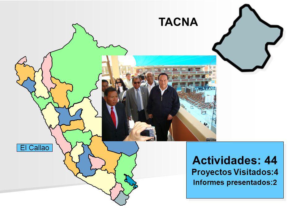 TACNA Actividades: 44 Proyectos Visitados:4 Informes presentados:2 Actividades: 44 Proyectos Visitados:4 Informes presentados:2 El Callao