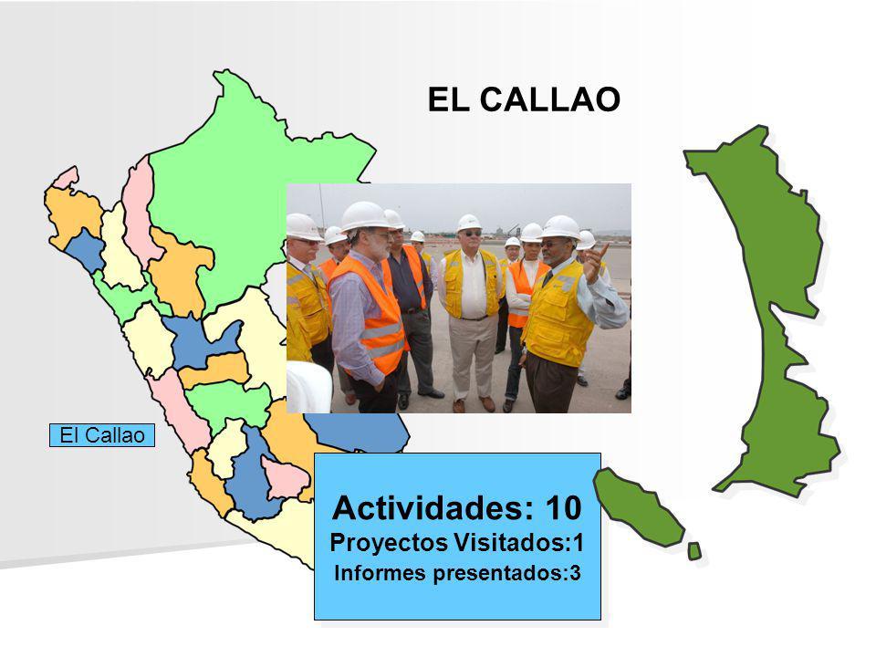 EL CALLAO Actividades: 10 Proyectos Visitados:1 Informes presentados:3 Actividades: 10 Proyectos Visitados:1 Informes presentados:3 El Callao