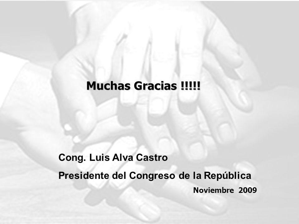Muchas Gracias !!!!! Cong. Luis Alva Castro Presidente del Congreso de la República Noviembre 2009