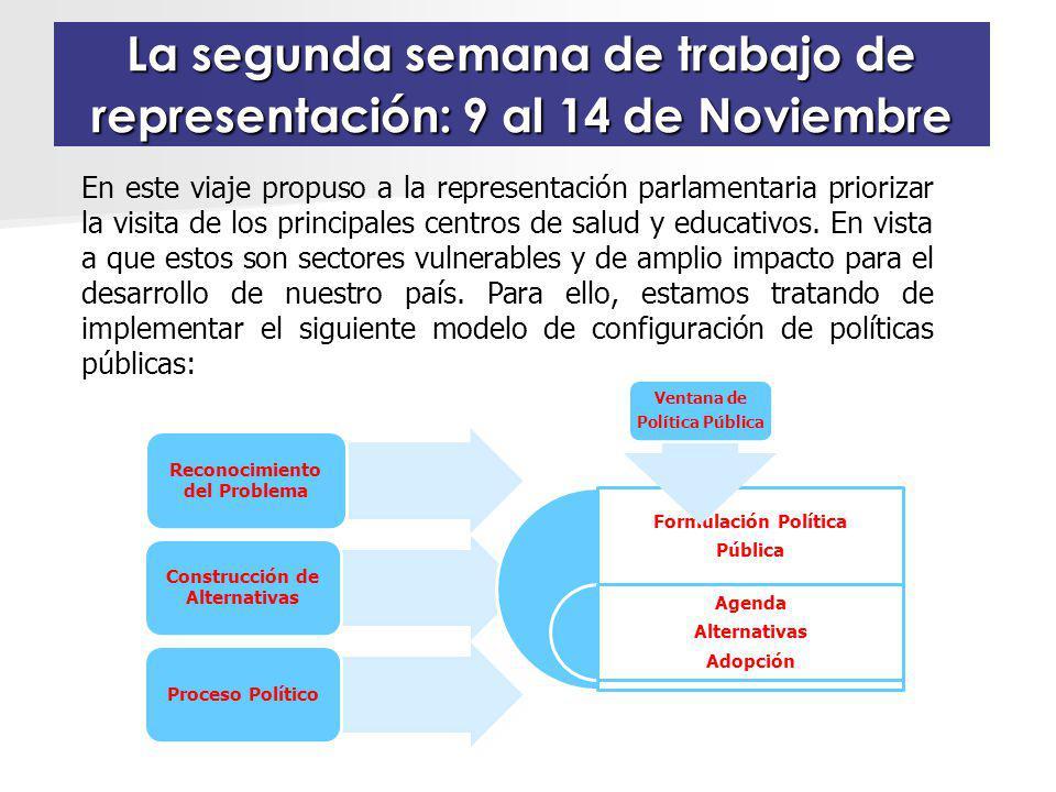 La segunda semana de trabajo de representación: 9 al 14 de Noviembre En este viaje propuso a la representación parlamentaria priorizar la visita de los principales centros de salud y educativos.