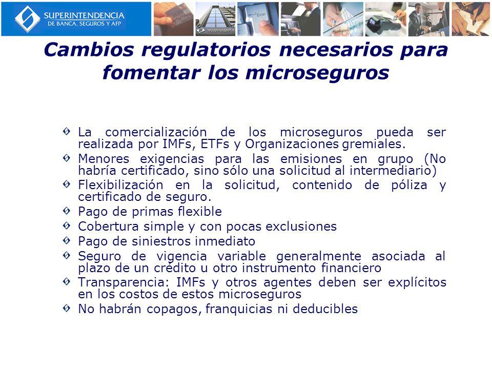 Cambios regulatorios necesarios para fomentar los microseguros La comercialización de los microseguros pueda ser realizada por IMFs, ETFs y Organizaci