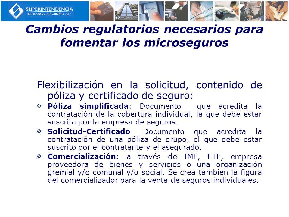 Cambios regulatorios necesarios para fomentar los microseguros Flexibilización en la solicitud, contenido de póliza y certificado de seguro: Póliza si