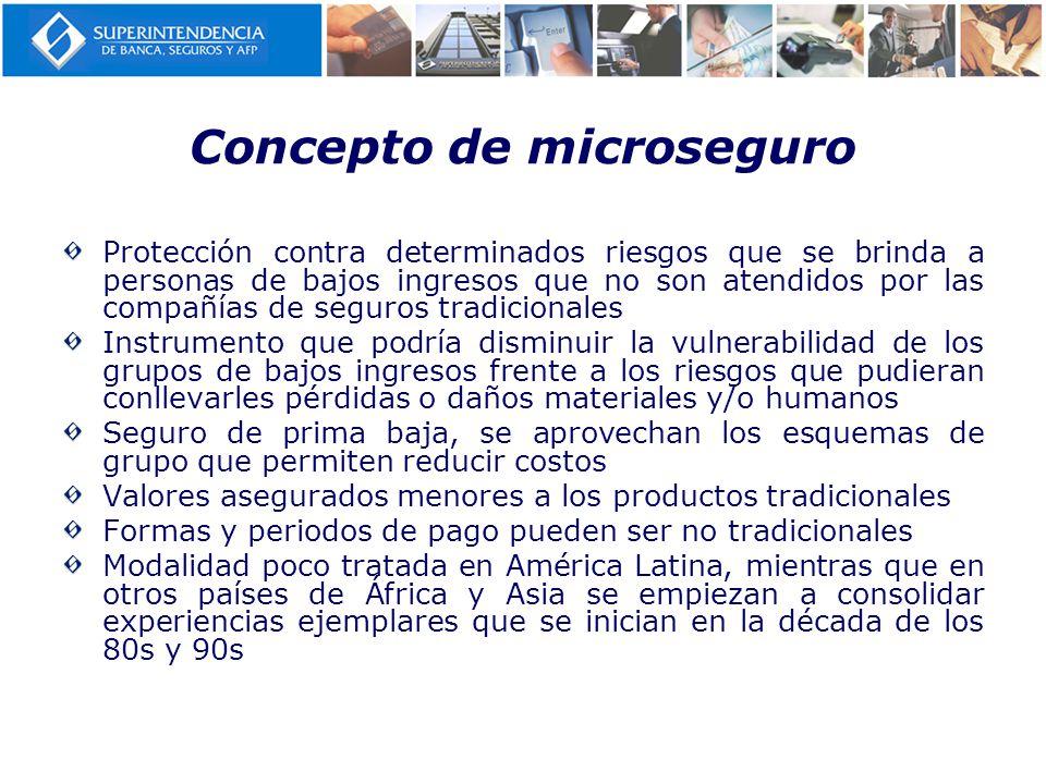 Concepto de microseguro Protección contra determinados riesgos que se brinda a personas de bajos ingresos que no son atendidos por las compañías de se
