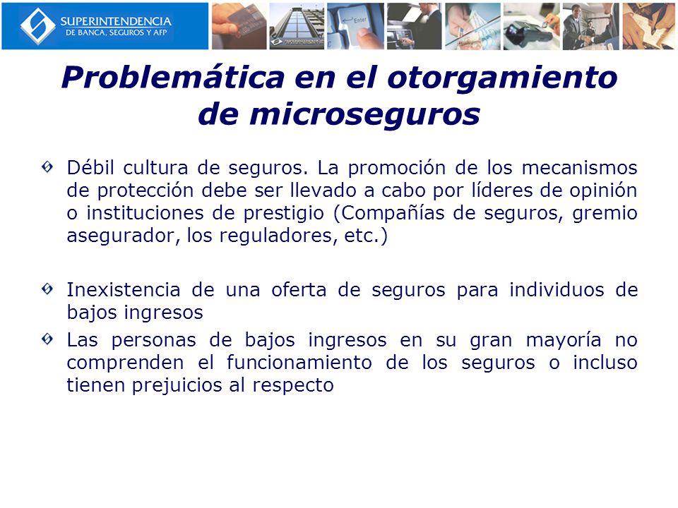 Problemática en el otorgamiento de microseguros Débil cultura de seguros. La promoción de los mecanismos de protección debe ser llevado a cabo por líd