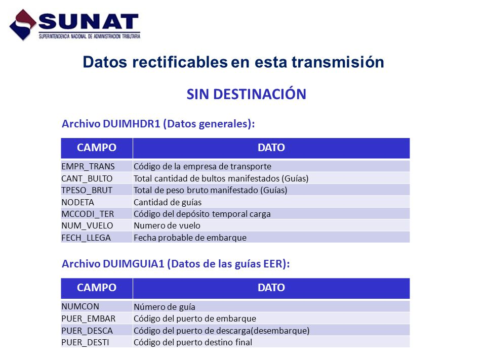Datos rectificables en esta transmisión Archivo DUIMHDR1 (Datos generales): CAMPODATO EMPR_TRANS Código de la empresa de transporte CANT_BULTOTotal ca